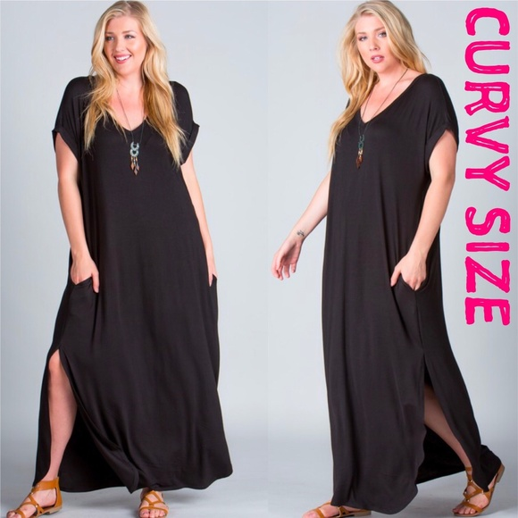 c2901d765d8 Plus Size Black Maxi Dress Pockets Slits Oversized